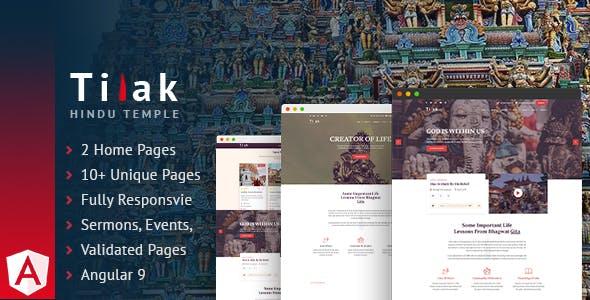 Download Tilak | Hindu Temple Angular Template