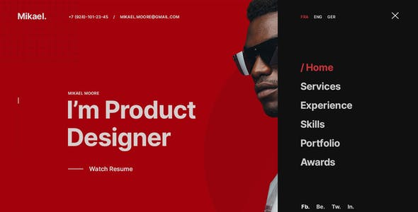 Mikael - Modern & Creative CV/Resume WordPress Theme