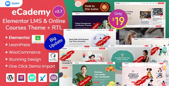 Download eCademy - Elementor LMS & Online Courses Theme
