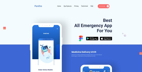 Panthó | Online Medicine Purchase Mobile App and Landing Page Figma Template