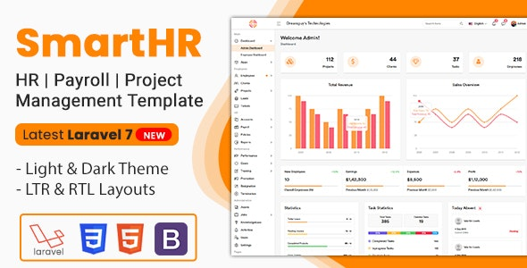 SmartHR - HR, Payroll, Project & Employee Management Bootstrap Admin Template (Html + Laravel) - Admin Templates Site Templates