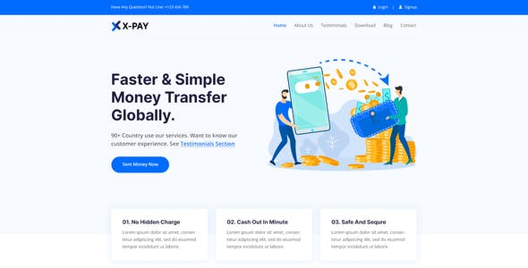 Xpay - Online Money Transfer & Banking PSD Template