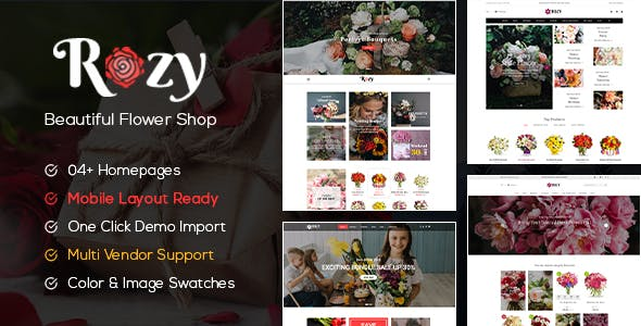 Rozy - Flower Shop WooCommerce WordPress Theme (4+ Indexes + Mobile Layouts Ready)