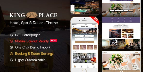 KingPlace - Hotel Booking, Spa & Resort WordPress Theme (Mobile Layout Ready)
