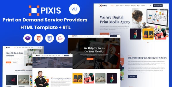 Pixis - Print on Demand Service Providers Template - Business Corporate