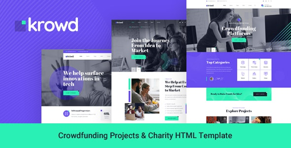 Krowd - Crowdfunding Projects & Charity HTML Template - Charity Nonprofit