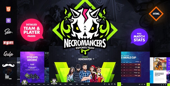 Necromancers - eSports Team HTML Template - Entertainment Site Templates