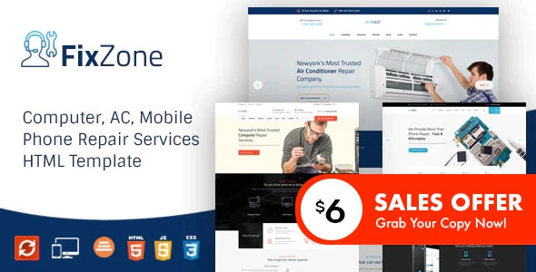 FixZone - Electronics Repair HTML Template - Business Corporate