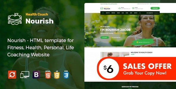 Nourish - Personal Trainer HTML Template - Health & Beauty Retail