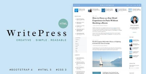 Writepress - Creative Blog Template - Creative Site Templates
