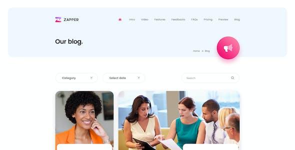 Zapper – App Landing Page Adobe XD Template