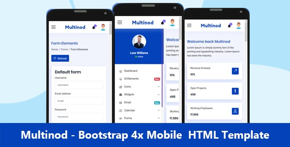 Multinod | Bootstrap 4x Mobile HTML template - Mobile Site Templates