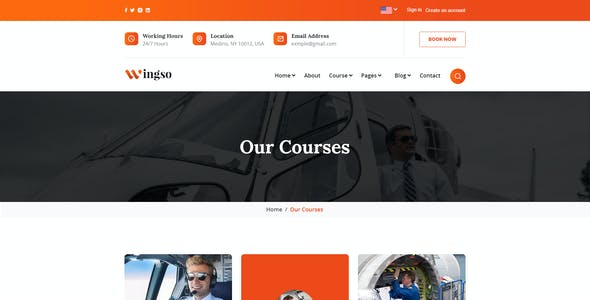 Wingso - Flying Academy PSD Template