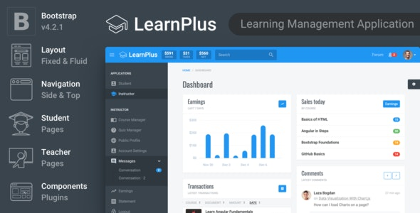 LearnPlus - Learning Management Application - Admin Templates Site Templates