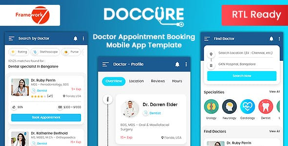 Download Doccure - Doctor Appointment Booking Mobile App Template (Framework7 + Bootstrap + PWA)