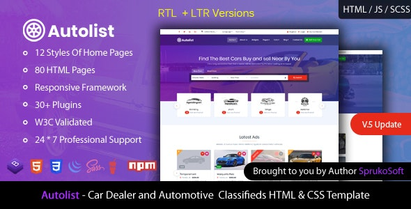 Autolist – Car Dealer and Classifieds HTML Template - Site Templates