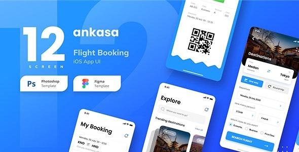 Ankasa Flight Booking iOS App UI Figma and PSD - Travel Retail