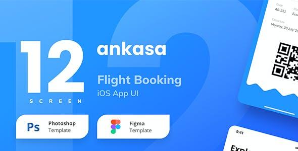 Ankasa Flight Booking iOS App UI Figma and PSD