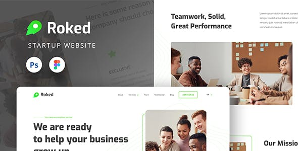 Roked Startup Website UI Design Template Figma & PSD