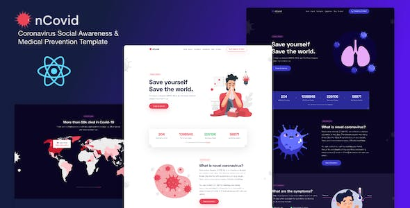 Download nCovid - Coronavirus (COVID-19) Social Awareness and Medical Prevention React Template