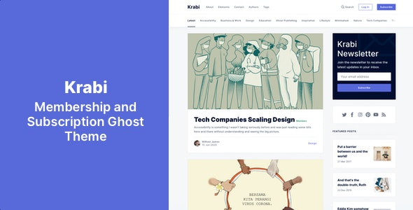 Krabi - Membership and Subscription Ghost Theme - Ghost Themes Blogging