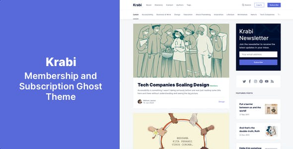 Download Krabi - Membership and Subscription Ghost Theme