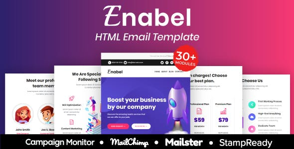 Enabel SEO - Multipurpose Responsive Email Template 30+ Modules Mailchimp