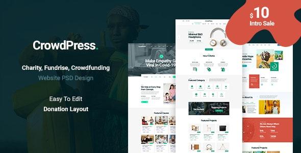 Crowdpress - Crowdfunding & Charity PSD Template - Charity Nonprofit