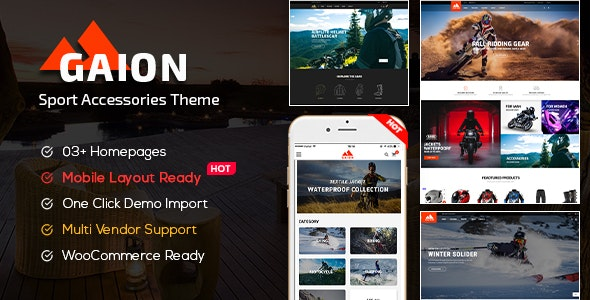Gaion - Sport Accessories Shop WordPress WooCommerce Theme (Mobile Layout Ready) - WooCommerce eCommerce