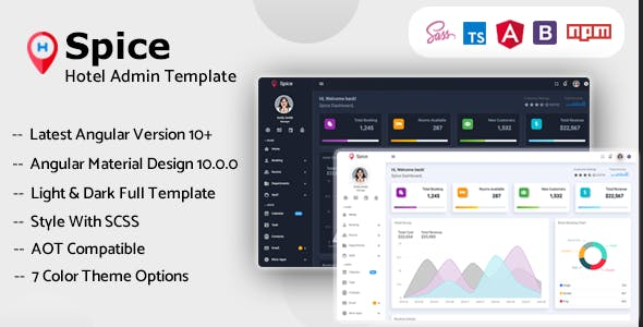 Download Spice - Angular 10+ Hotel Admin Dashboard Template