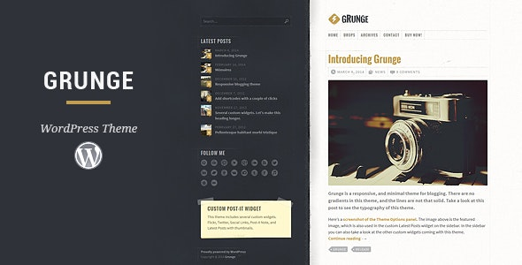 Grunge WordPress Theme - Personal Blog / Magazine