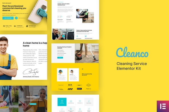 Cleanco - Cleaning Service Company Template Kit - Business & Services Elementor