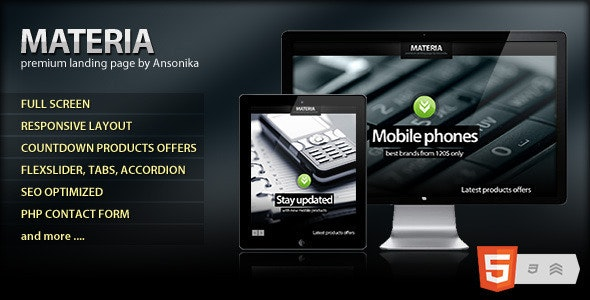 Materia Responsive Fullscreen landing page - Corporate Landing Pages