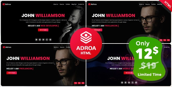 Adroa - Personal Portfolio Template - Portfolio Creative