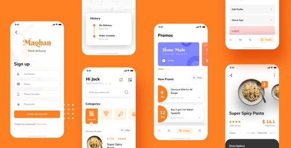 Food Delivery iOS App UI Figma Template