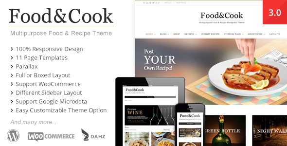 Food & Cook - Multipurpose Recipe WP Theme - Retail WordPress