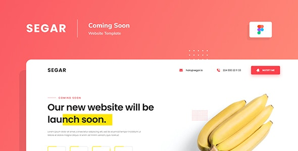 Segar — Coming Soon Website Template Figma - Miscellaneous Figma