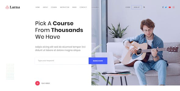 Larna - Online Learning and Education Website PSD Template