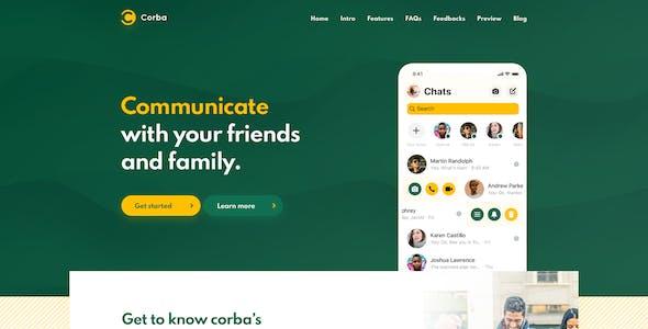 Corba – App Landing Page Adobe XD Template
