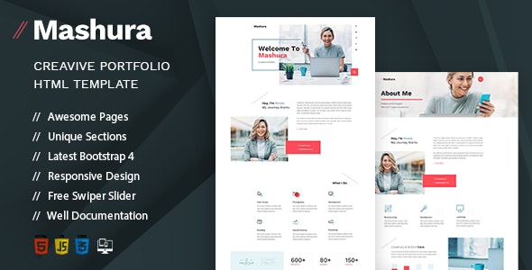 Mashura - Single Portfolio HTML Template - Portfolio Creative