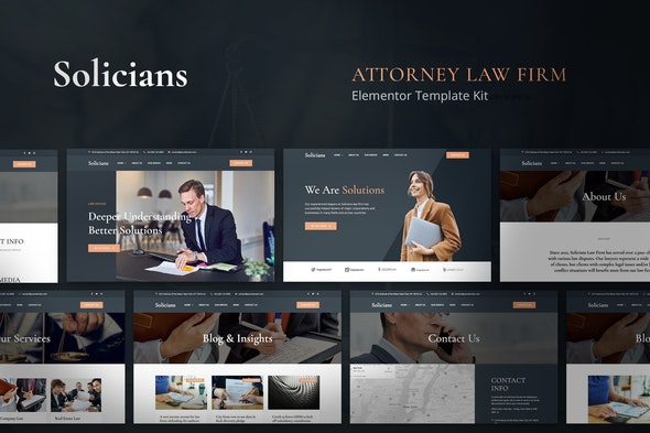 Solicians - Attorney Law Firm Elementor Template Kit - Finance & Law Elementor
