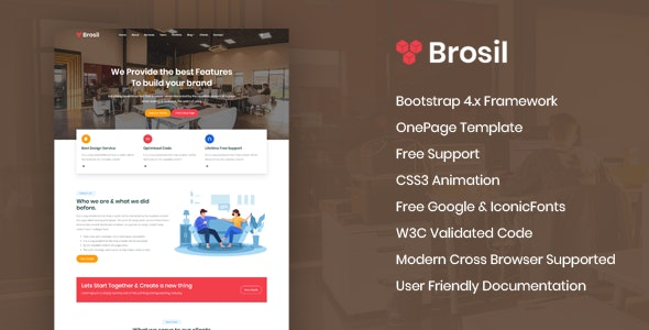 Brosil - Responsive Onepage HTML Template - Creative Site Templates