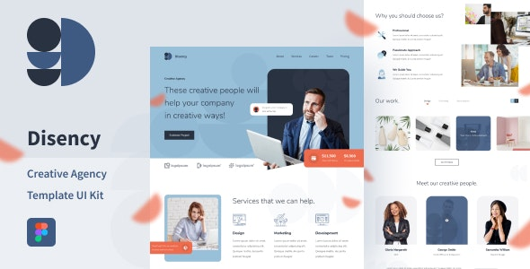 Disency | Startup & Business Web UI Kit for Figma - Business Corporate