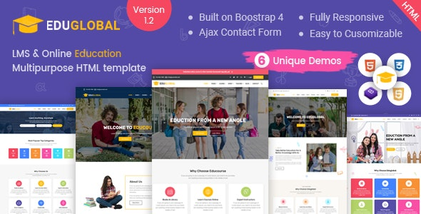 Education LMS and Courses HTML Template for Educational Site - Eduglobal - Corporate Site Templates