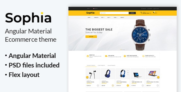 Sophia -  Angular 10+ Material eCommerce Template - Shopping Retail