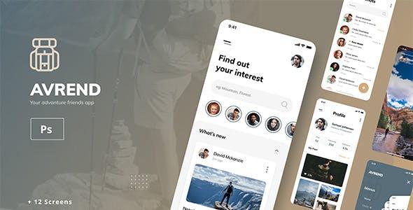 Avrend Your Adventure Friends iOS App PSD