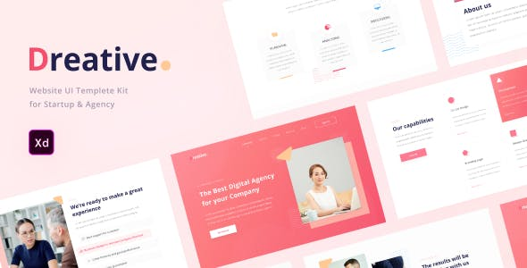 Dreative   Startup & Business Web UI Kit for Adobe XD