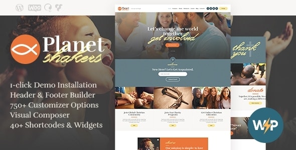 Planet Shakers | Church & Religion WordPress Theme - Churches Nonprofit