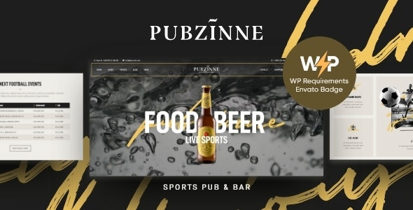 Pubzinne - Sports Bar WordPress Theme - Restaurants & Cafes Entertainment