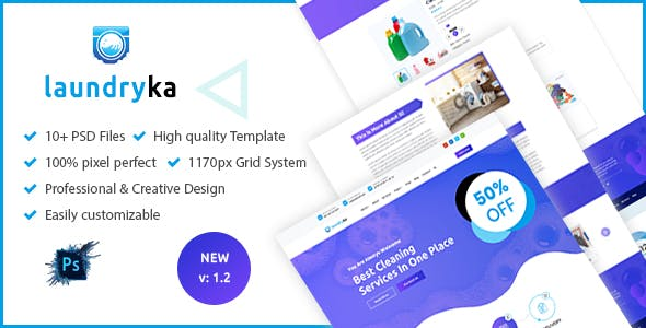Laundryka - Dry Cleaning Services PSD Template